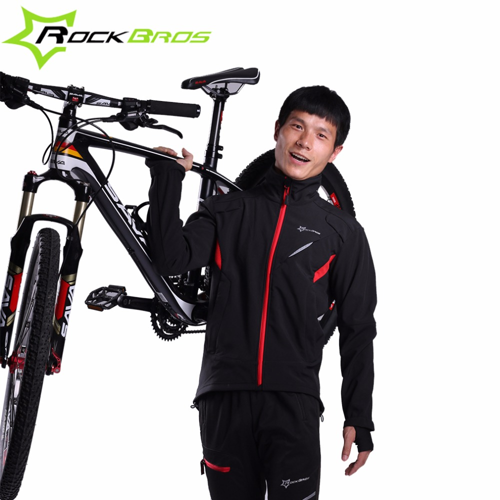 ROCKBROS Cycling Jacket Winter Sport Fleece Thermal Warm Windproof Riding Bicycle Jerseys Water Resistant Bike Reflective Jacket 2017 santic mens breathable cycling jerseys winter fleece thermal mtb road bike jacket windproof warm quick dry bicycle clothing
