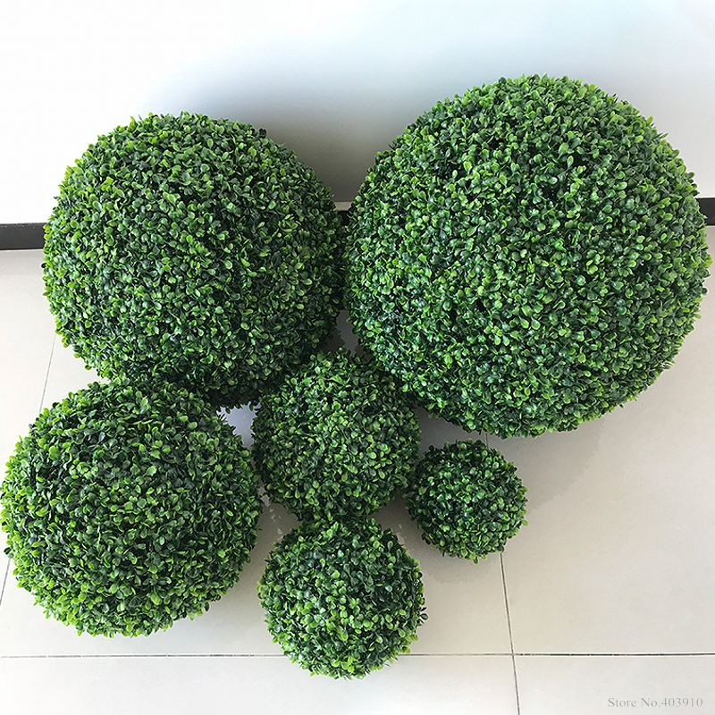 1PCS Large Green Artificial Plant Ball Topiary Tree Boxwood Wedding Party Home Outdoor Decoration plants plastic grass ball