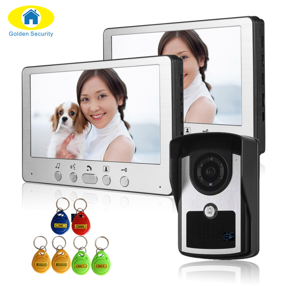 Golden Security 700 TVL LCD Monitor Video Door Phone Visible Doorbell Intercom Kit RFID Access Camera For Home Surveillance