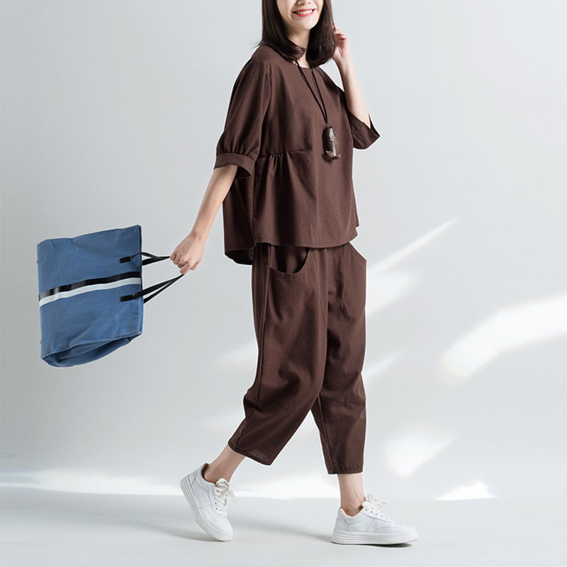 2019 Summer New Women 2 Pieces Pant Sets Cotton And Linen Casual Lady Fashion Wide Leg Pant Suits