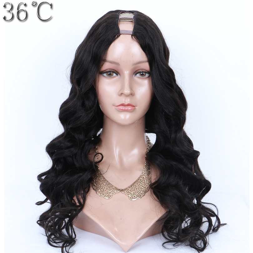 36C Body Wave U Part Human Hair Wig 100% Brazilian Hair Natural Color Middle Openning 1*3 Inches Size Wig for Black Women