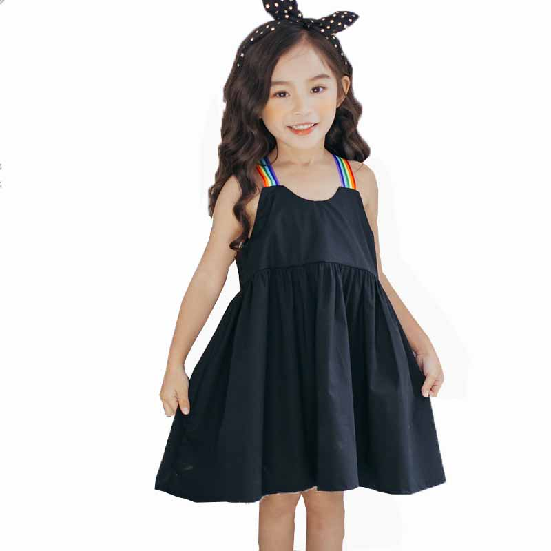 Children Clothing Girls Summer Dress Rainbow Strap Simply Black Cotton Dress Casual -6028
