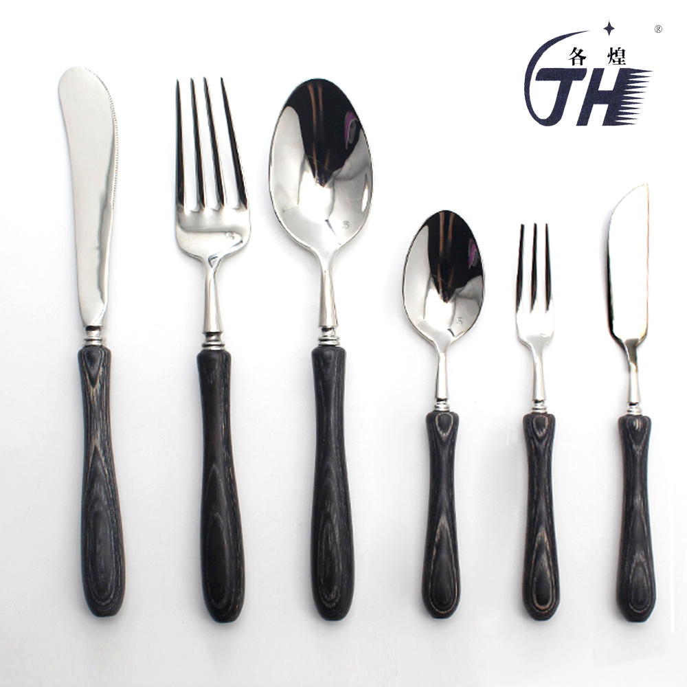 US $6.5 |Black Stainless Steel Cutlery Set Western Japanese Black Wood  Dinnerware Wooden Handle Tableware Set Kitchen Accessories-in Dinnerware  Sets ...