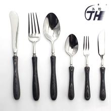 Black Stainless Steel Cutlery Set Western Japanese Black Wood Dinnerware Wooden Handle Tableware Set Kitchen Accessories