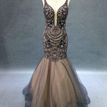 DENIA'S BRIDAL Real Image Plunging Evening Dresses Mermaid