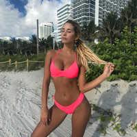 OMKAGI Bandage Neon Bikini 2019 Swimsuit Women Swimwear Biquinis Swimming Bathing Suit Hot Sale Sexy Push Up Bikini Set New