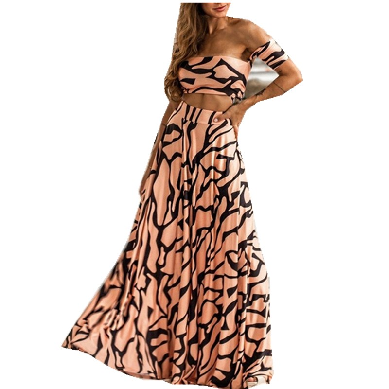 Fashion 2019 Striped Print Two Piece Set Women Straps Maxi Party Skirt Bohemian Set Sexy Crop Tops And Maxi Skirt Suits in Women 39 s Sets from Women 39 s Clothing