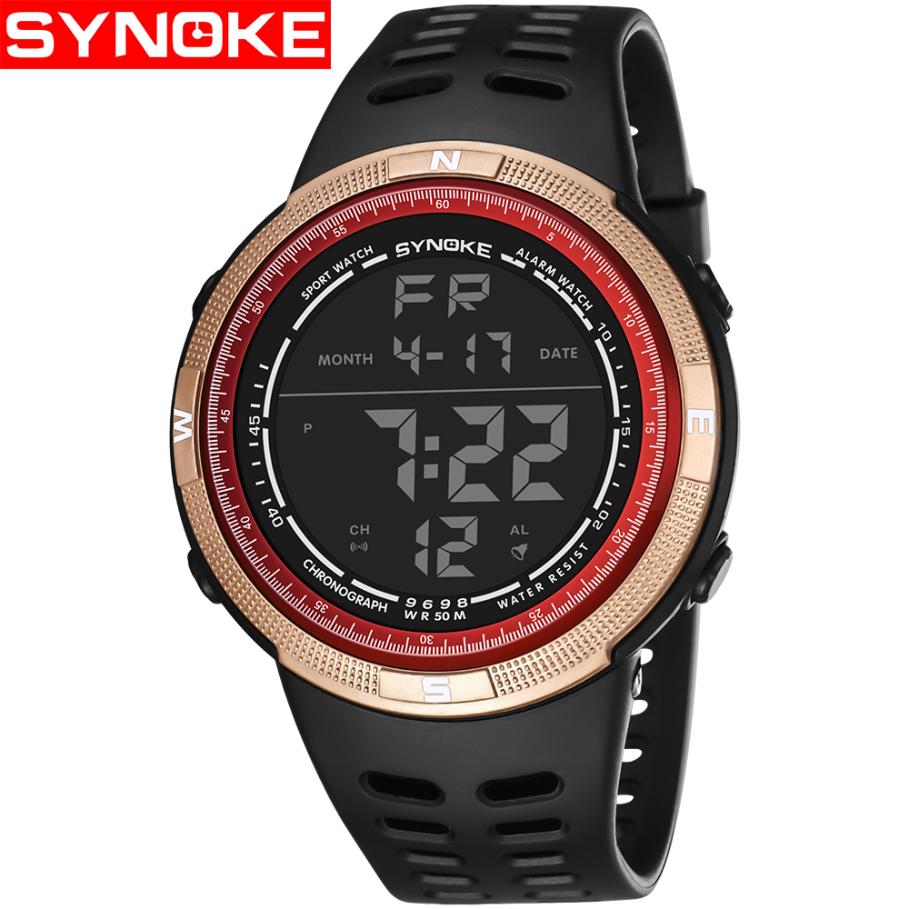 SYNOKE New Explosions Electronic Watch Men's Personality Trend of Students Fashion Outdoor Sports Electronic Watch Waterproof business casual fashion watch features diamond dial strip of male and female students in outdoor sports with retro lovers watch