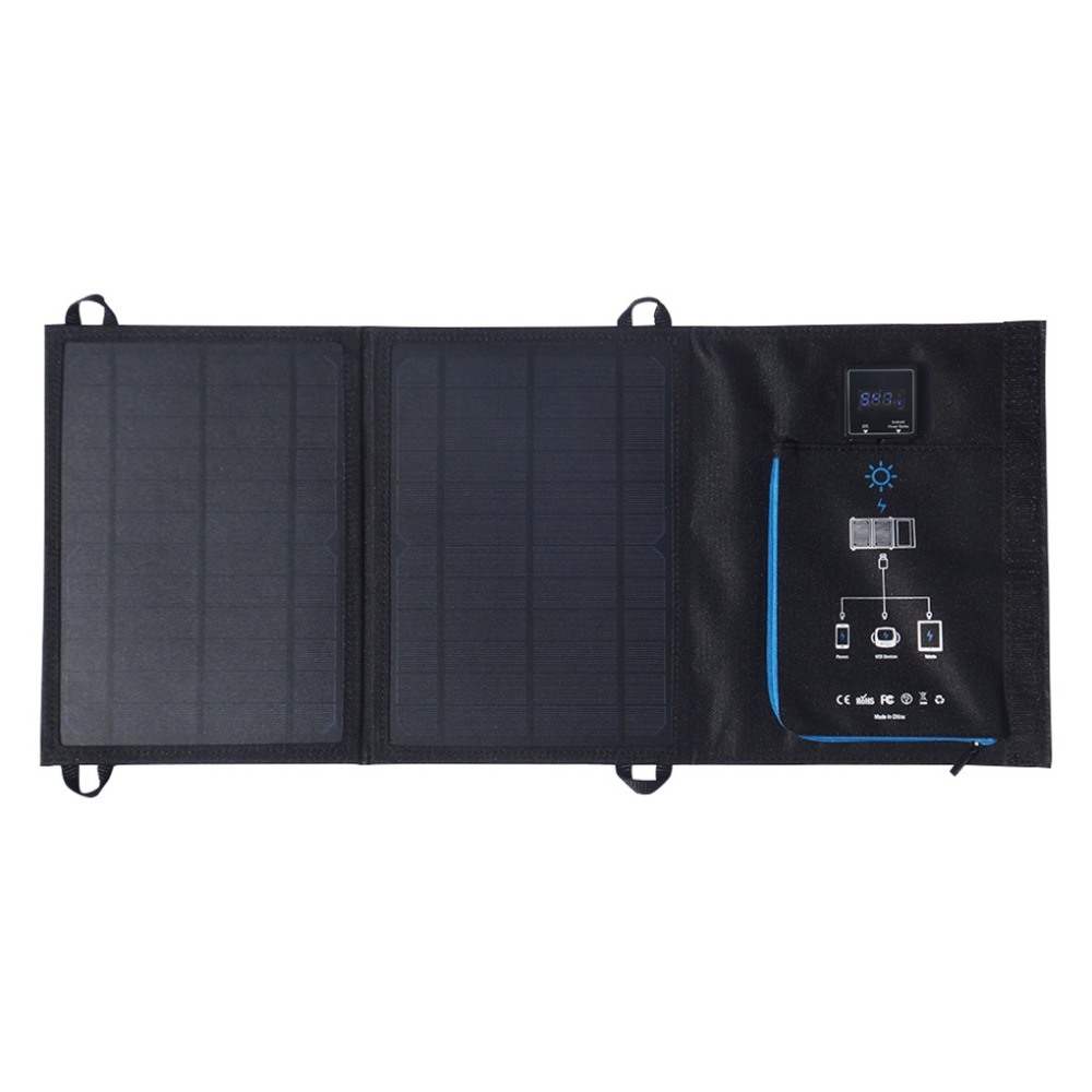 12W Dual USB Folding Solar Charger Solar Panel Module Power Bank Outdoor Emergency Cell Phone Charger Voltage Current Display mvpower 5v 5w solar panel bank solar power panel usb charger usb for mobile smart phone