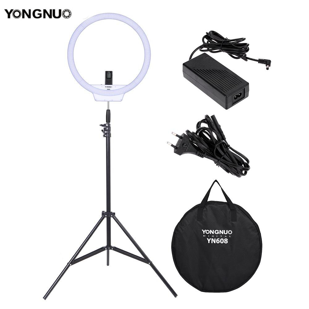 YONGNUO YN608 Annular LED Ring Light 3200K~5500K Bi-Color Temperature Photo Lamp with 2m Light Stand and Power Adapter