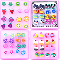 Free Shipping Cheap Cute Handmade Craft Polymer Clay Slices With Plastic Stick Anti-allergy Stud Earrings Fruit Animal 80pairs