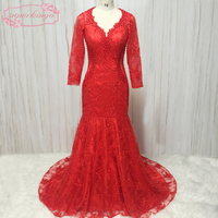 lace evening dresses v neck long transparent sleeve pearls mermaid court train red prom dresses gowns 2018 arabic