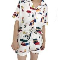 Cartoon Sleepwear Plus Size Cotton Set Summer Sleeping Wear Pijama Ropa Interior Lingerie Dress Camisa Dormir Sleep Clothes VY40