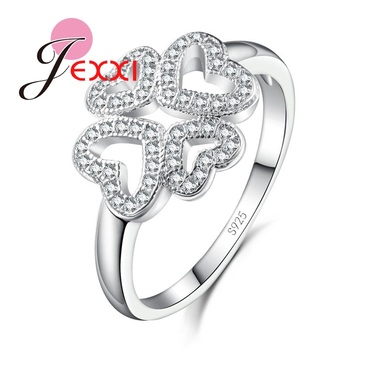 JEXXI Love Rings For Women Lady S925 Silver Finger Ring Crystal Shining Wedding Bands Accessory For Engagement Anniversary