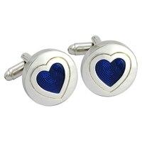 Moda luksusowe przycisk mankiet spinki męska niebieski kamień-studded serce kształt ekskluzywne Francuskie koszula strój codzienny wedding party prezent