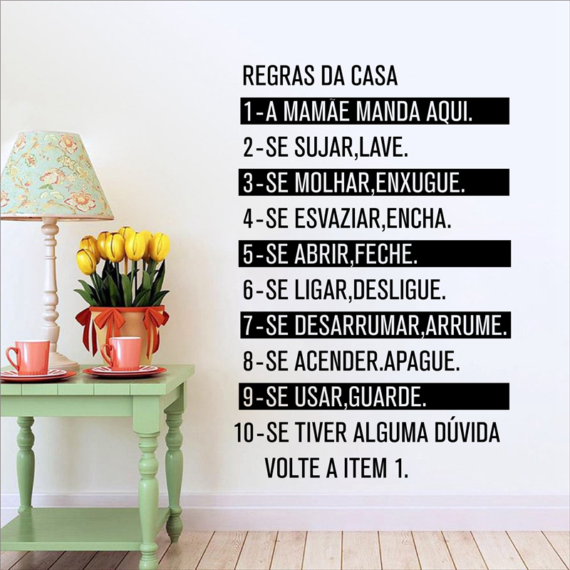 Portugal Version Wallpaper House Rules Vinyl Wall Art Decal , Portuguese Language Quote Wall Stickers  Home Decoration
