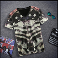 Free shipping Plus size men's clothing short-sleeve tees 3d V-neck fat guys shirt short-sleeve quick-drying breathable t-shirt