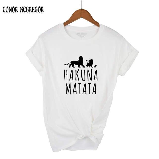 Camiseta Más Superior De Del Imprimir 100Algodón 2018 Hakuna Tamaño Matata Corta Carta Ocasional Verano Mujeres Manga Hombre VMSUpqz