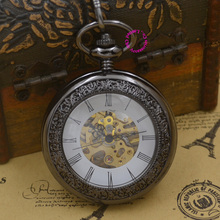 black Mechanical Pocket Watch men glass steampunk man fob watches roman antique vintage retro Stylish hand Wind waist chain
