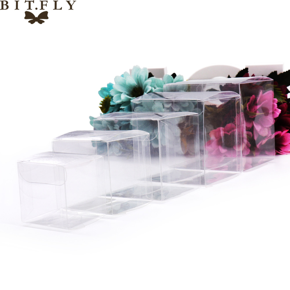 50pcs PVC Clear Transparent Candy Box Gifts Birthday Wedding Favor Holder Chocolate Candy Boxes Event Sweet Candy Bags /jewelry