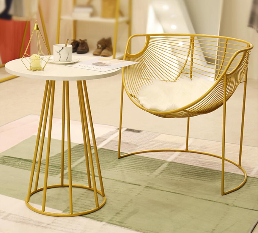 Showcase rack simple landing women's clothing store lounge area tea table table chair golden leisure chair