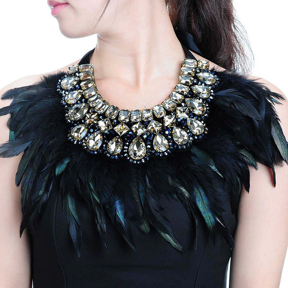 JEROLLIN Luxury Fashion Jewelry Big Hot sale Feather Shiny Crystal Pendant Statement Bib Collar Choker Charm Necklace For Women