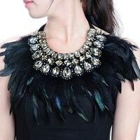 JEROLLIN Роскошные Модные украшения Большой Горячая Распродажа перо блестящий кристалл кулон модный Чокер с подвеской для Для женщин