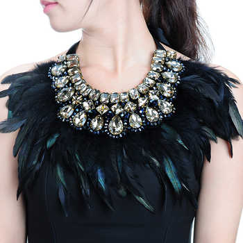 JEROLLIN Luxury Fashion Jewelry Big Hot sale Feather Shiny Crystal Pendant Statement Bib Collar Choker Charm Necklace For Women - DISCOUNT ITEM  13% OFF All Category