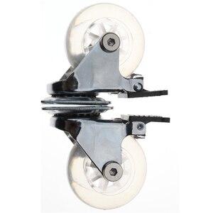 Image 4 - 4 قطعة من البلاستيك المسطح الشفاف 2 بوصة عجلة العجلات الثقيلة مع الفرامل لكرسي مكتب عجلات دوارة