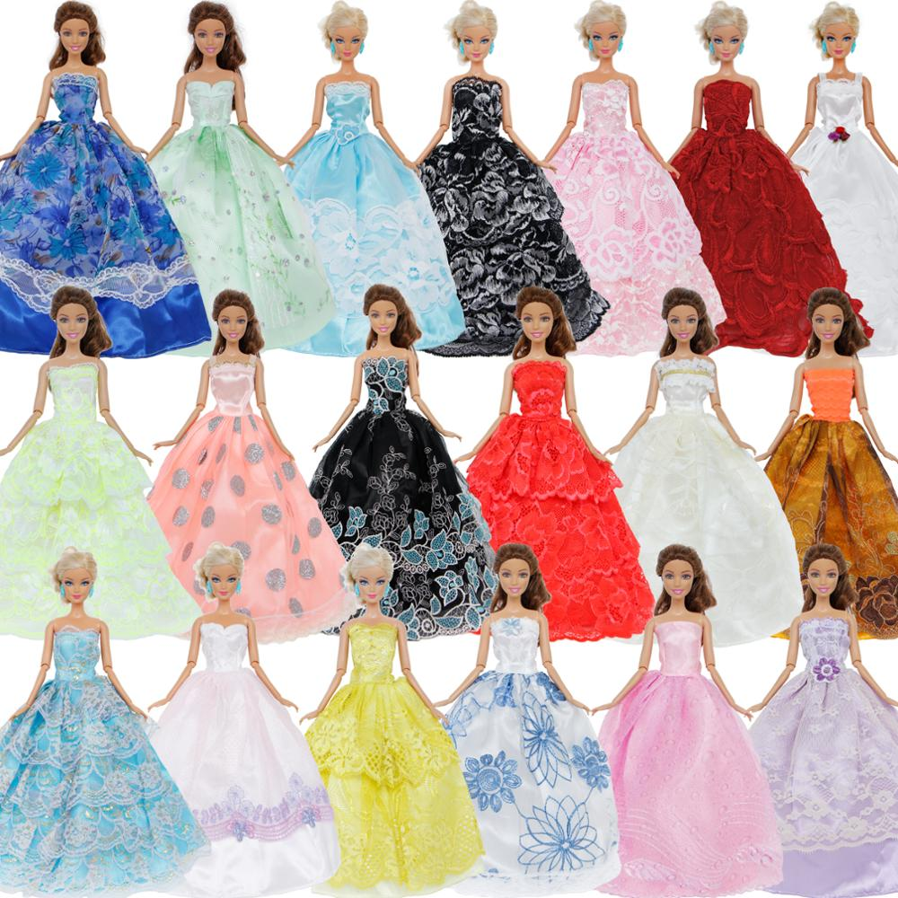 Random 10x Princess Wedding Dress Party Gown Fashion Wear Mixed Styles Clothing High Quality Clothes For Barbie Doll Accessories