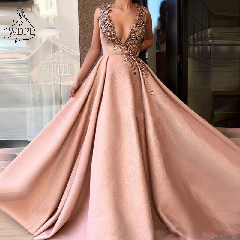 Sexy Plunning V Neck Long   Prom     Dresses   2019 Crystal Beaded Formal Party   Dress   Evening Wear Sweep Train V Back robe de soiree