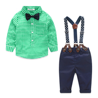 Baby Boy Clothes 2016 Spring New Brand Gentleman Plaid Clothing Suit For Newborn Baby Bow Tie