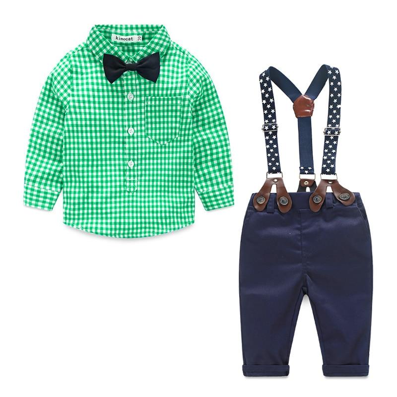 Bebé Ropa 2016 primavera nueva tela escocesa del caballero de la marca traje para bebé recién nacido pajarita camiseta + suspender Pantalones