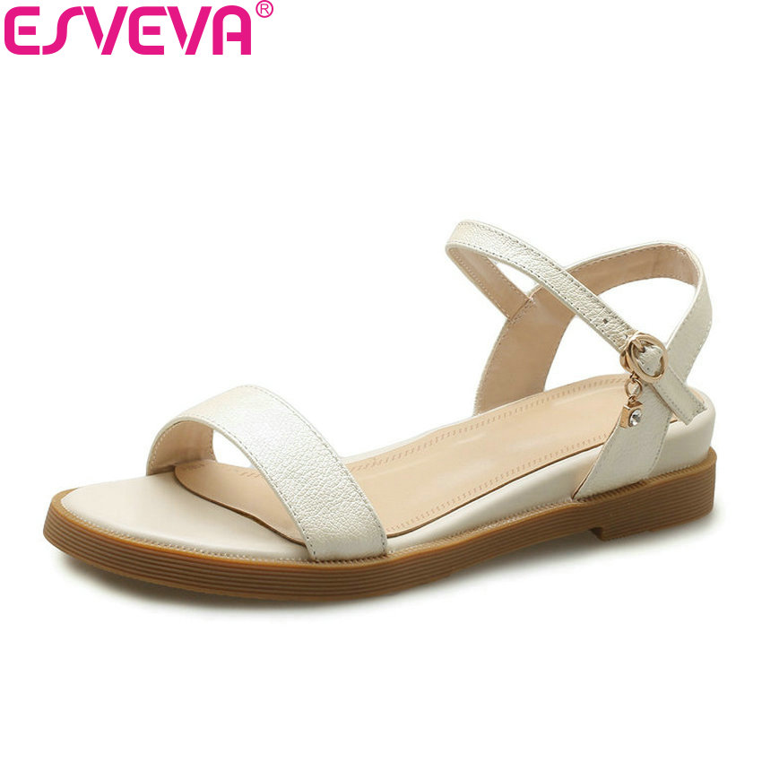 ESVEVA 2020 Square Heels Women Sandals Buckle Sweet Style Summer Cow Leather Gold PU Low Heels Round Toe Shoes Women Size 34-39