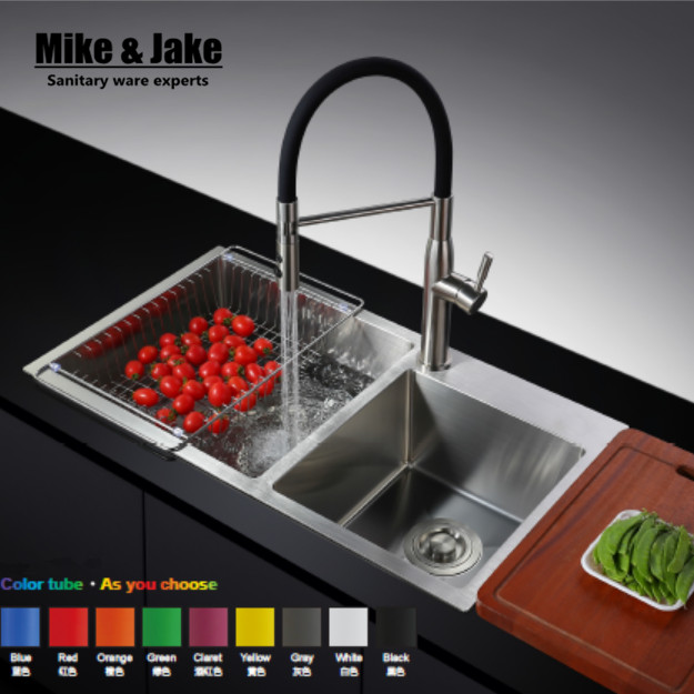 Stainless steel 304 Pull out black rubber kitchen mixer healthy kitchen faucet lead free sink tap kitchen mixer tap 304 tap цена 2017