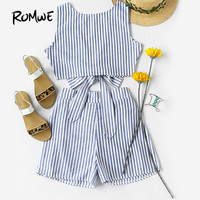 ROMWE Womens Two Piece Sets 2017 Summer Ladies Two Way Sleeveless Blue Vertical Striped Bow Tie