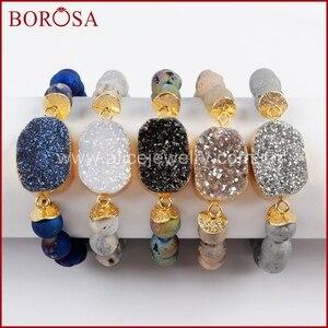 Image 2 - BOROSA 5 ピース新ゴールドカラーチタン Druzy ブレスレット 10 ミリメートルビーズ混合色のブレスレットジュエリーのための宝石バングル女性 G1536