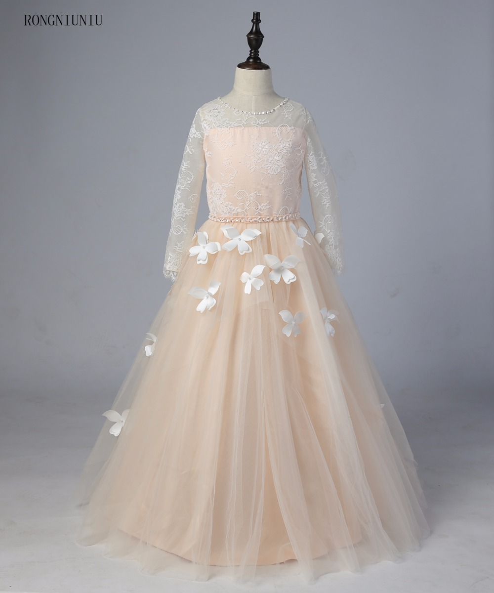 Champagne Long Sleeve   Flower     Girl     Dresses   for Wedding 3D   Flowers   Ball Gown 2019 Little   Girls   Communion Party Pageant   Dress