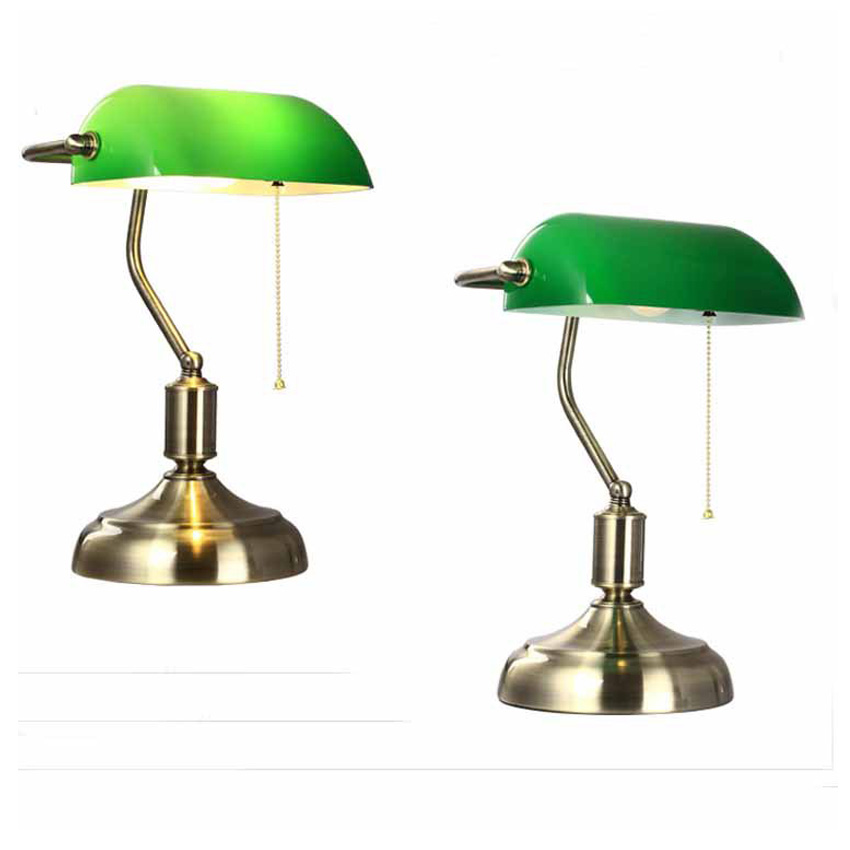 Aliexpress.com : Buy Green Retro Table Lamps With Pull Chain Switch Glass  Lampshade Alloy Bracket Bedside Lamp/study/office/cafe Vintage Desk Lights  From ...
