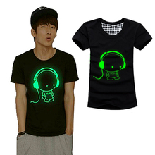 2017 Summer Men Women Short Sleeved T-shirt Fluorescent Creative Personality Fashion Luminous Cotton T-shirt -MX8