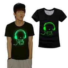 2017 Summer Men Women Short Sleeved T-shirt Fluorescent Creative Personality Fashion Luminous Cotton T-shirt -MX8