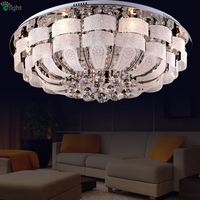 Modern Remote Control Round Crystal Led Ceiling Light Luxury Lustre K9 Cristal Plate Chrome Glass Ceiling