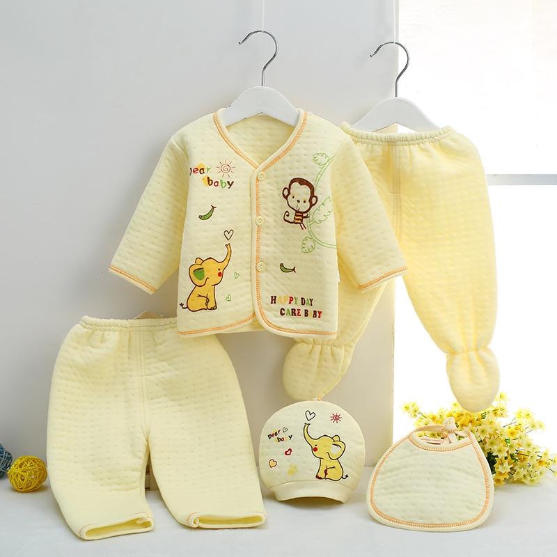 5 հատ: 2019-ի բարձրորակ Wերմ ներքնազգեստի երեխան սահմանում է նորածին մանկական հագուստի և աղջկա հագուստի ձմեռային նորածինների հավաքածու ՝ NB 0-3M համար