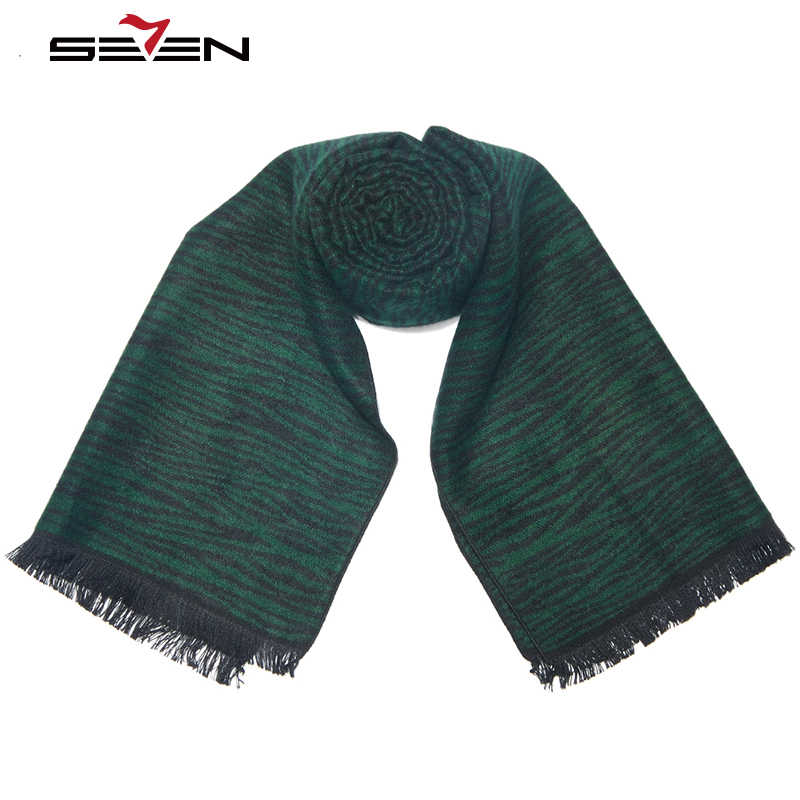 Seven7 marka luksusowych marek kaszmirowy szalik mężczyźni 2019 projektant mody zimowe szaliki zimowe ciepłe męskie szale Cachecol szal