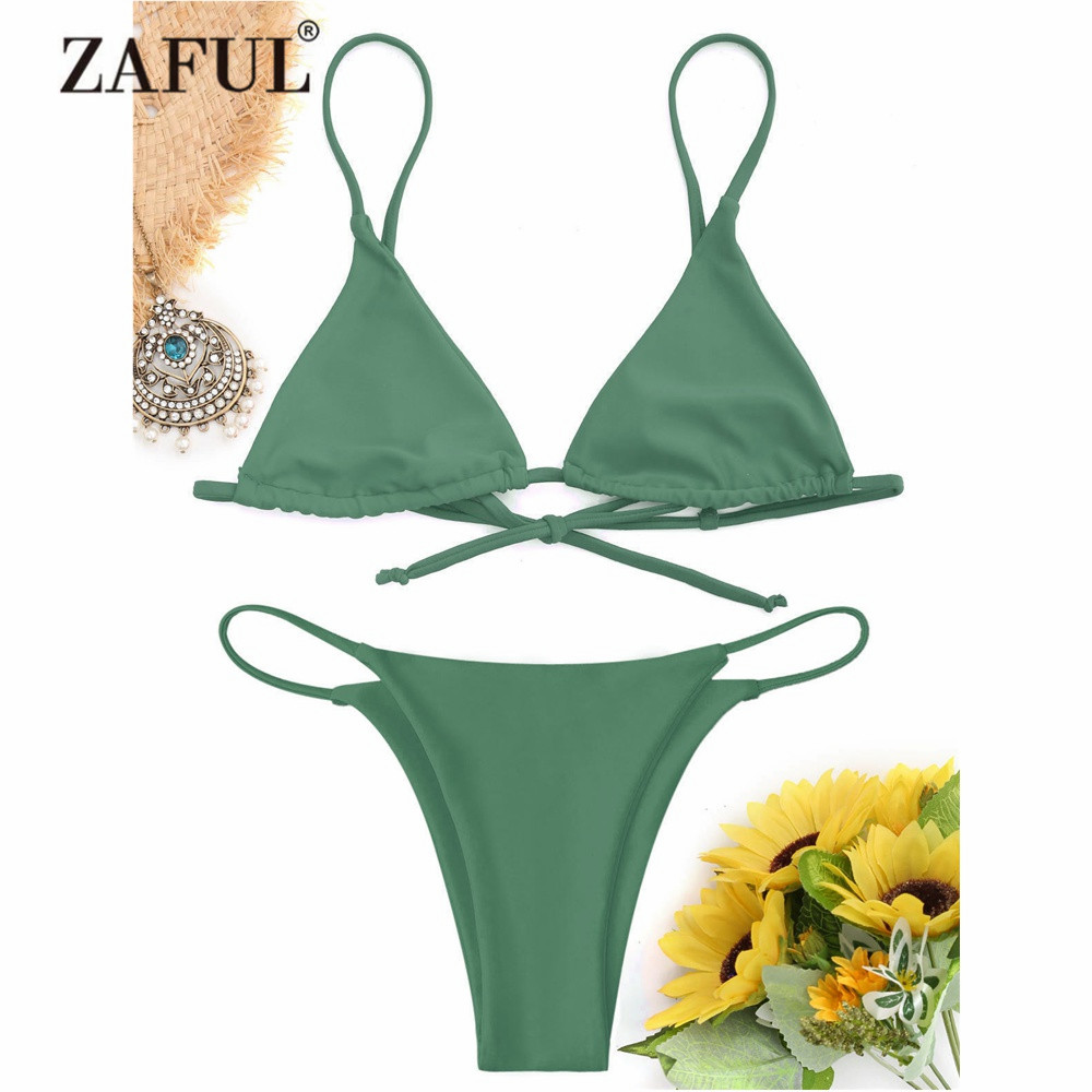 ZAFUL New Swimwear Women Cami Bralette Thong String Bikini Set Sexy Low Waisted Spaghetti Straps Women Swimsuit G String Biquni