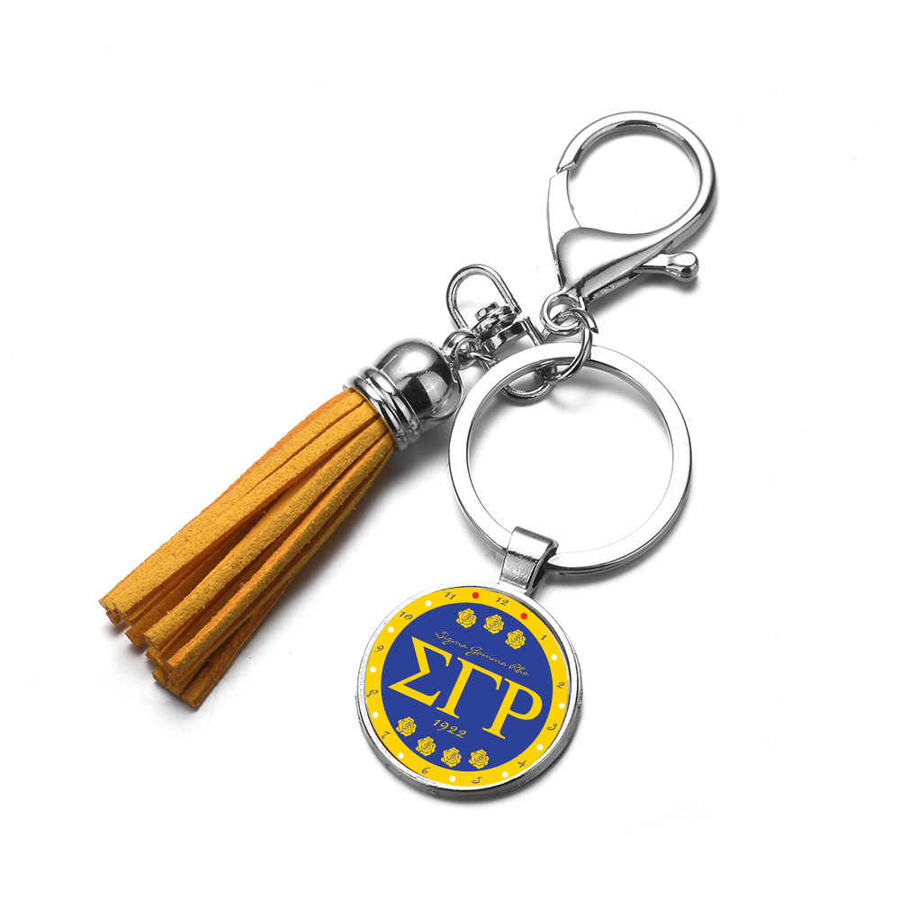 SONGDA Sigma Gamma Rho Sorority Charm พวงกุญแจภาษากรีกชีวิตแก้วรอบจี้พวงกุญแจแหวนสมาชิกของขวัญของที่ระลึก