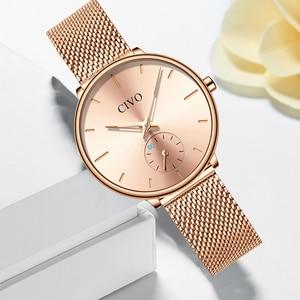 Image 2 - CIVO Luxury Casual Ladies Watch Waterproof Rose Gold Steel Mesh Quartz Watch Women Fashion Dress Watches Clock Relogio Feminino