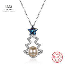 LEKANI Crystals From Swarovski Necklace925 Christmas Tree Five-Pointed Star Pearl Pendant Necklace 2018 Ladies Gift
