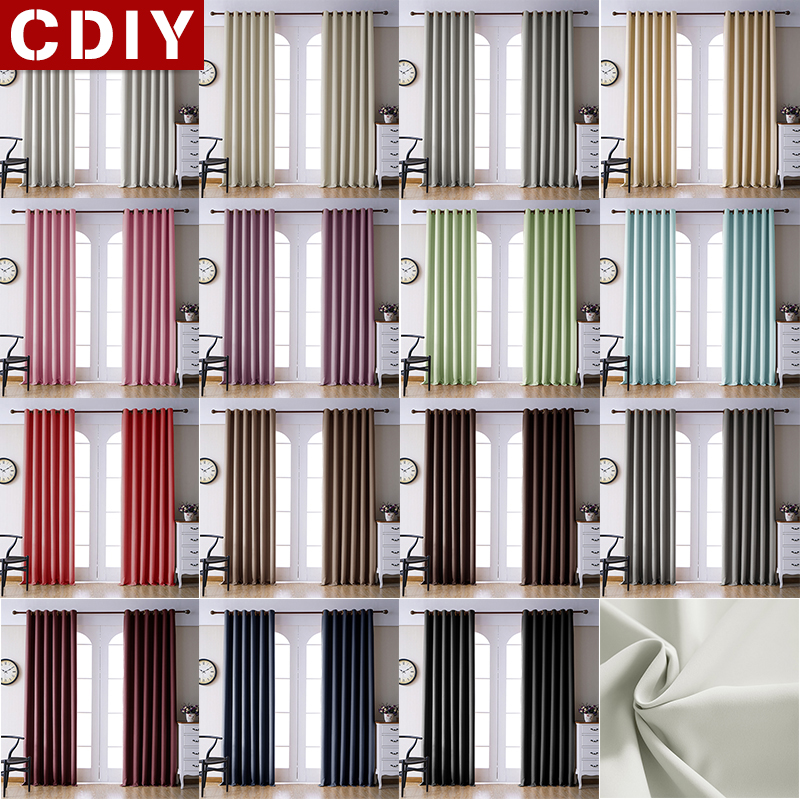 CDIY Soild Blcakout Curtains For Living Room Bedroom Modern Window Curtains For Kitchen Thick Curtains Drapes finished Curtains(China)