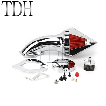 Chrome w/ Red Motorcycle Cone Spike Air Cleaner Intake Filter Kit For Honda VTX 1300 VTX1300 All Year Aluminum Intake Air Filter image